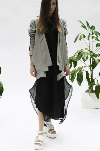 Shop Emerging Conceptual Womenswear Designer Luba GnaSevych Grey Angle Hooded Bubble Blazer at Erebus