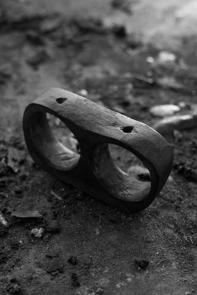 Shop Emerging avant garde Jewellery Brand Surface/Cast Black Concrete Subtraction Two Hole Double Ring at Erebus