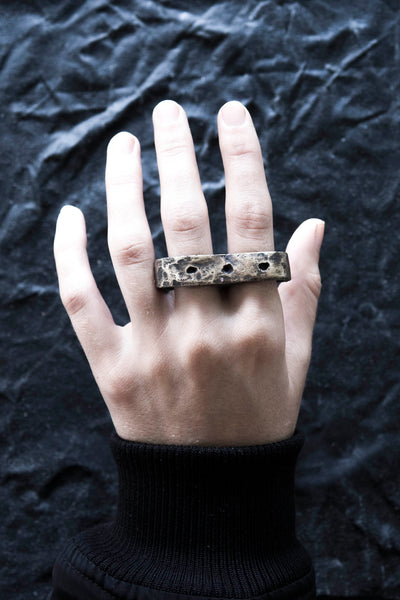 Shop Emerging Avant Garde Jewellery Brand Surface/Case Blackened Bronze Subtraction Double Ring at Erebus