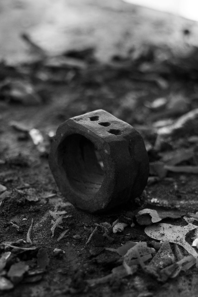 Shop Emerging Avant Garde Jewellery Brand Surface/Cast Black Concrete Subtraction Three Hole Medium Ring at Erebus