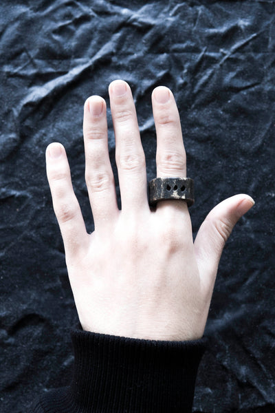 Shop Emerging Avant-garde Jewellery Brand Surface/Cast Blackened Bronze Subtraction Three Hole Medium Ring at Erebus