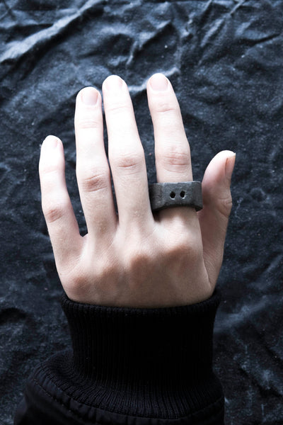 Shop Emerging avant garde Jewellery Brand Surface/Cast Black Concrete Subtraction Two Hole Medium Ring at Erebus