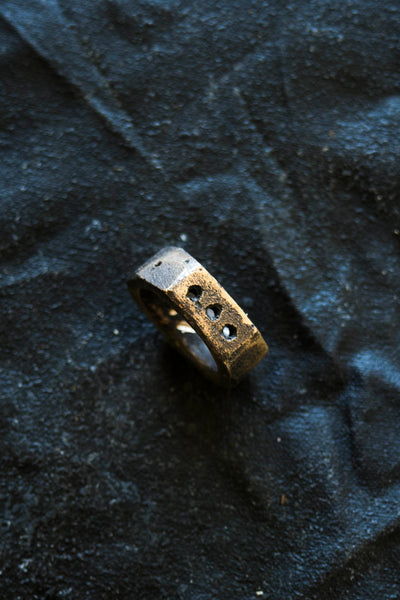 Shop Emerging Avant Garde Jewellery Brand Surface/Cast Blackened Bronze Subtraction Three Hole Small Ring