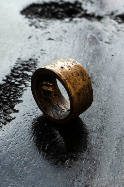 Shop Emerging Slow Fashion Avant-garde Jewellery Brand Surface Cast Blackened Bronze Surface Ring at Erebus