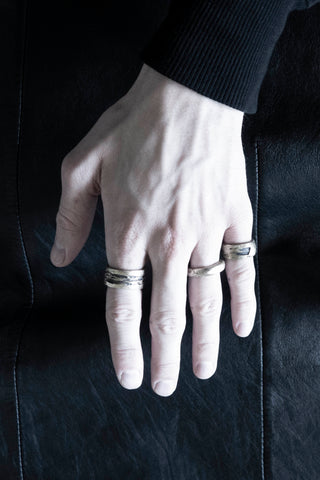 Shop Emerging Slow Fashion Avant-garde Jewellery Brand Surface Cast Blackened Bronze Hack Ring at Erebus