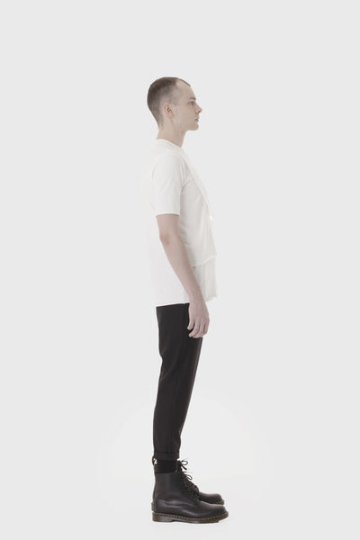 Shop Emerging Slow Fashion Avant-garde Menswear Designer Marco Scaiano White Layered Lee T-shirt at Erebus