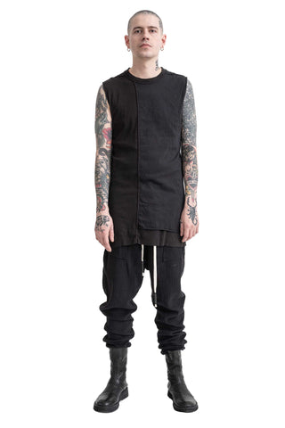 Shop Conscious Modern Menswear Designer Sandro Marzo Spring Summer 2021 Collection Black T1-20 Elongated Cotton Silk Blend Tank Top at Erebus