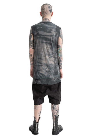 Shop Conscious Modern Menswear Designer Sandro Marzo Spring Summer 2021 Collection Petrol Low-water Immersion Dyed T1-20 Elongated Cotton Silk Blend Tank Top at Erebus