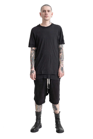 Shop Conscious Modern Menswear Designer Sandro Marzo Spring Summer 2021 Collection Black Cotton T2-50 Double Layer T-Shirt at Erebus