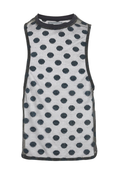 Shop Emerging Slow Fashion Avant-garde Unisex Brand Dhenze Kollektion 5 Sheer Polka Dot Lurex Jersey Asymmetric Tank at Erebus