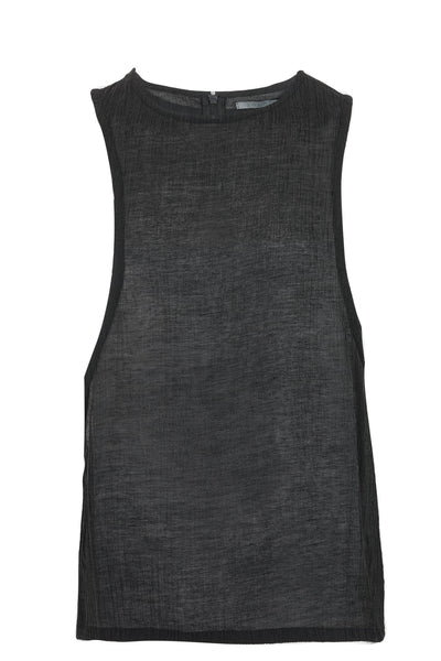 Shop Emerging Slow Fashion Avant-garde Unisex Brand Dhenze Kollektion 5 Grey Silk Chiffon Asymmetric Tank at Erebus