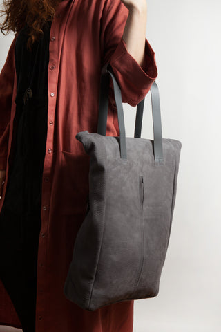 Shop Emerging Conscious Avant-garde Designer Brand MDK Miranda Kaloudis Grey Nubuck Leather Transformable Tesris Tall Bag at Erebus