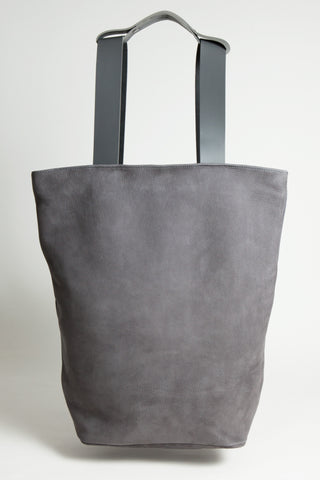 Shop Emerging Conscious Avant-garde Designer Brand MDK Miranda Kaloudis Grey Nubuck Leather Transformable Tesris Bag at Erebus