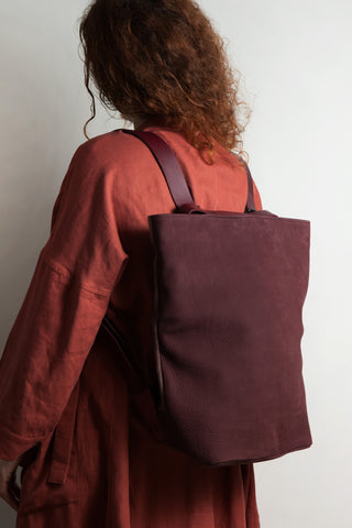 Shop Emerging Conscious Avant-garde Designer Brand MDK Miranda Kaloudis Red Nubuck Leather Transformable Tesris Bag at Erebus