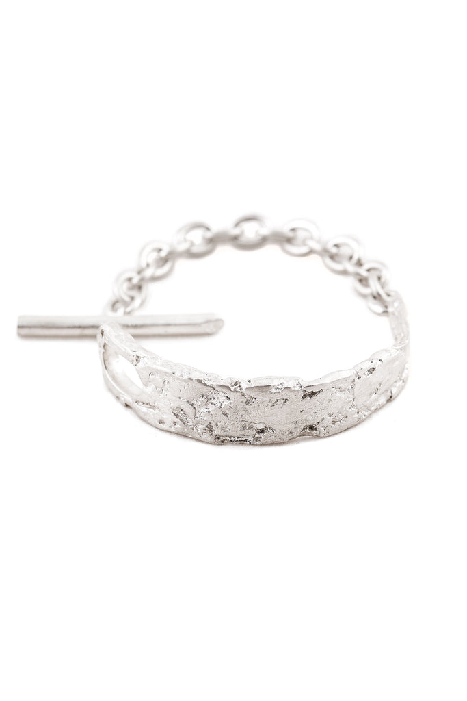 Shop Slow Fashion Artisanal Dark Jewellery Designer Maya Noach Sterling Silver Shackle Bracelet at Erebus