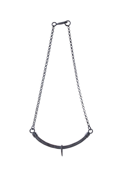 Shop Slow Fashion Artisanal Dark Jewellery Designer Maya Noach Oxidised Sterling Silver Arc Necklace at Erebus