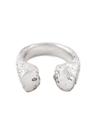Shop Slow Fashion Artisanal Dark Jewellery Designer Maya Noach Sterling Silver Reflect Ring at Erebus