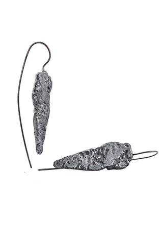 Shop Slow Fashion Artisanal Dark Jewellery Designer Maya Noach Oxidised Sterling Silver Arrowhead Earrings at Erebus