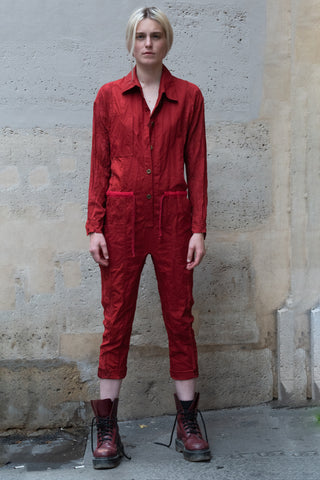 Shop Couture Conscious Dark Avant-garde Luxury Designer Brand Sandrine Philippe SS20 Femme Collection Red Cotton and Silk Jumpsuit at Erebus