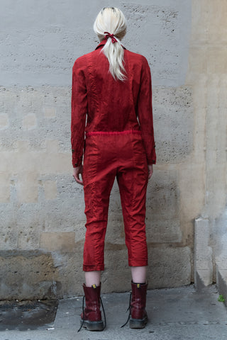 Shop Couture Conscious Dark Avant-garde Luxury Designer Brand Sandrine Philippe SS20 Femme Collection Red Cotton, Linen and Silk Jumpsuit at Erebus