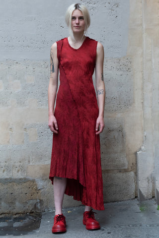 Shop Couture Conscious Dark Avant-garde Luxury Designer Brand Sandrine Philippe SS20 Femme Collection Red Silk Long Sleeveless Bias Dress at Erebus