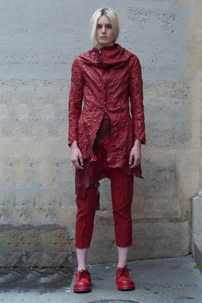 Shop Couture Conscious Dark Avant-garde Luxury Designer Brand Sandrine Philippe SS20 Femme Collection Red Embroidered Textured Leather Asymmetric Perfecto Jacket at Erebus