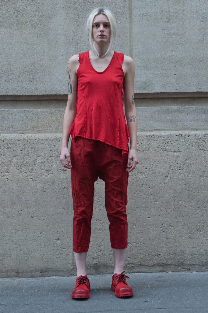 Shop Couture Conscious Dark Avant-garde Luxury Designer Brand Sandrine Philippe SS20 Femme Collection Red Cropped Casual Trousers at Erebus