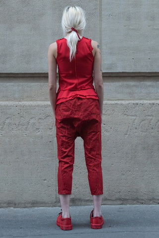 Shop Couture Conscious Dark Avant-garde Luxury Designer Brand Sandrine Philippe SS20 Femme Collection Red Asymmetric Flare Vest Tank Top at Erebus