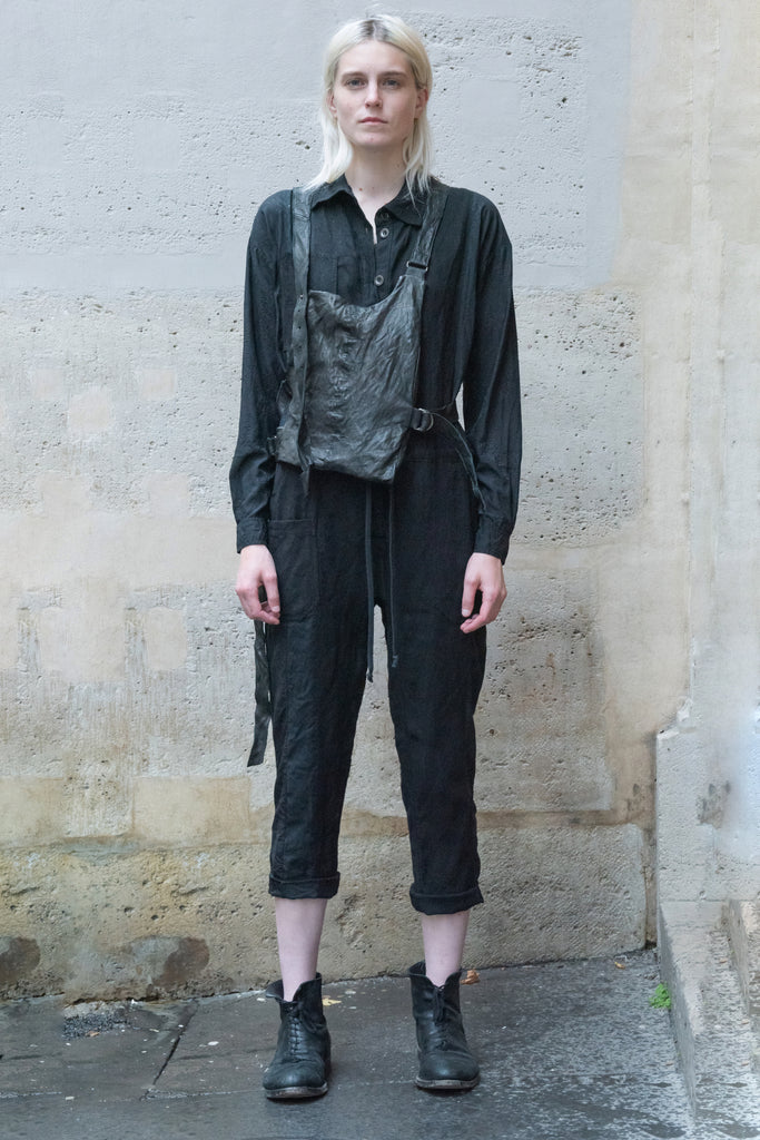 Shop Couture Conscious Dark Avant-garde Luxury Designer Brand Sandrine Philippe SS20 Femme Collection Black Cotton and Silk Jumpsuit at Erebus