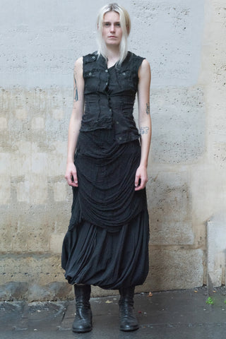 Shop Couture Conscious Dark Avant-garde Luxury Designer Brand Sandrine Philippe SS20 Femme Collection Black Silk Asymmetric Sleeveless Perfecto Biker Vest at Erebus