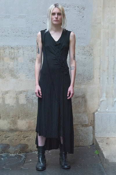 Shop Couture Conscious Dark Avant-garde Luxury Designer Brand Sandrine Philippe SS20 Femme Collection Black Sleeveless Long Bias Dress at Erebus