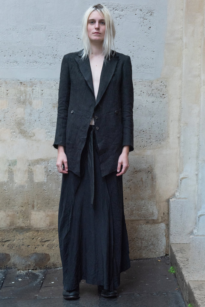 Shop Couture Conscious Dark Avant-garde Luxury Designer Brand Sandrine Philippe SS20 Femme Collection Black Linen and Cotton Back Pleat Blazer Jacket at Erebus
