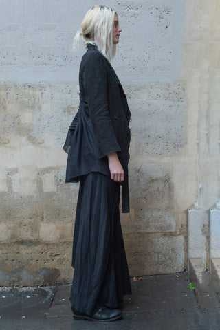 Shop Couture Conscious Dark Avant-garde Luxury Designer Brand Sandrine Philippe SS20 Femme Collection Black Brushed Silk Multi Panels Skirt at Erebus