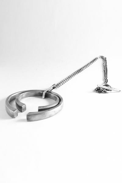 Shop Emerging Slow Fashion Avant-garde Jewellery Brand OSS Haus Awakening Collection Silver Toro Necklace at Erebus