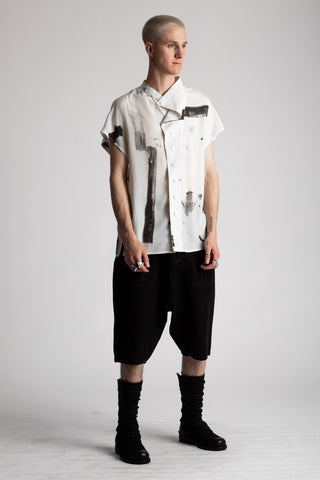 Shop Emerging Conscious Avant-garde Genderless Brand Venia Collection Jan Mccarthy Print Tristan Short Sleeve Shirt at Erebus