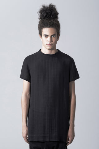 Shop Emerging Slow Fashion Avant-garde Genderless Brand Vague Grey Mockneck T-shirt at Erebus
