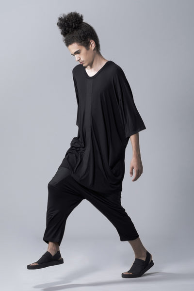 Shop Emerging Slow Fashion Avant-garde Genderless Brand Vague Black Gathered T-shirt at Erebus