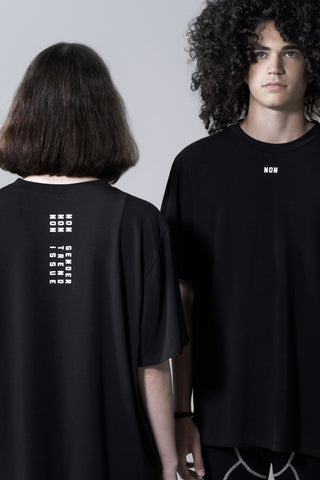 Shop Emerging Slow Fashion Avant-garde Genderless Brand Vague Black NON T-shirt at Erebus