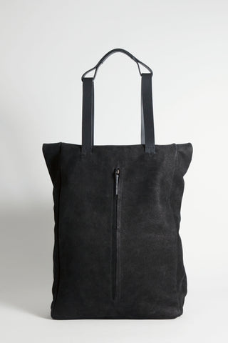 Shop Emerging Conscious Avant-garde Designer Brand MDK Miranda Kaloudis Faded Black Nubuck and Waxed Cotton Canvas Transformable Tesris Tall Backpack Bag at Erebus