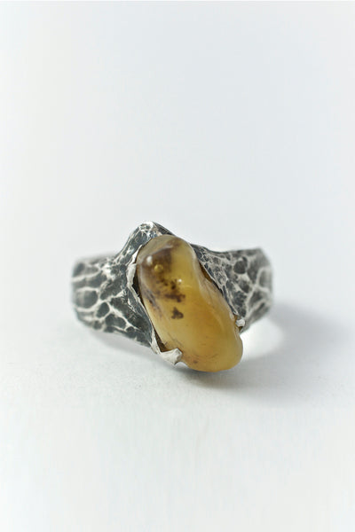 Shop Emerging Conscious Avant-garde Brand Black Rock Jewel Thin Amber Ring at Erebus