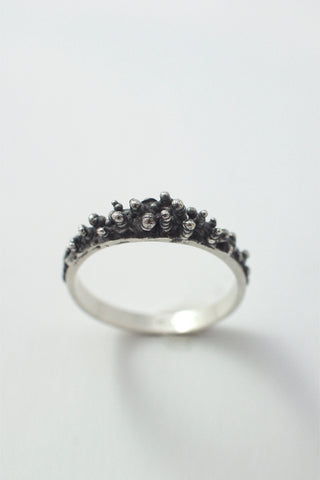 Shop Emerging Conscious Avant-garde Brand Black Rock Jewel Silver Thin Ring at Erebus