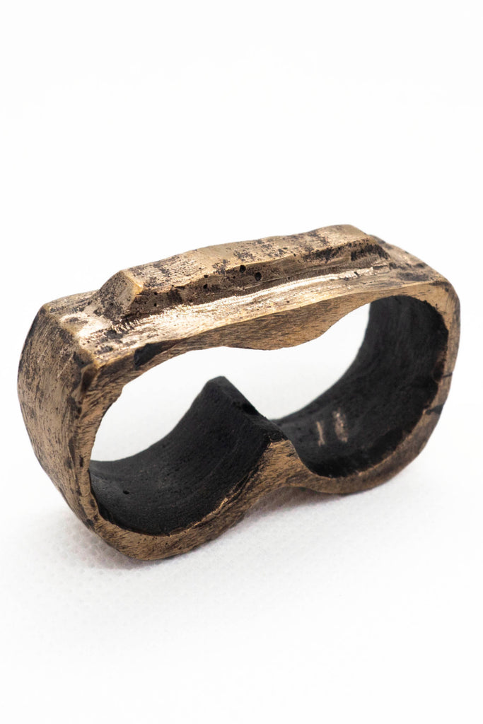 Shop Emerging Slow Fashion Avant-garde Jewellery Brand Surface Cast Blackened Bronze Tor Double Ring at Erebus