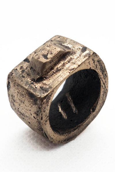 Shop Emerging Slow Fashion Avant-garde Jewellery Brand Surface Cast Blackened Bronze Tor Medium Ring at Erebus