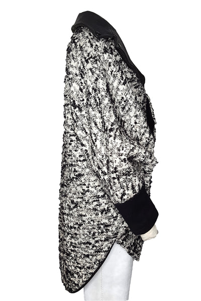 Shop Emerging Conscious Avant-garde Gender-free Brand Supramorphous Black and White Wool Trapezoid Jacket at Erebus