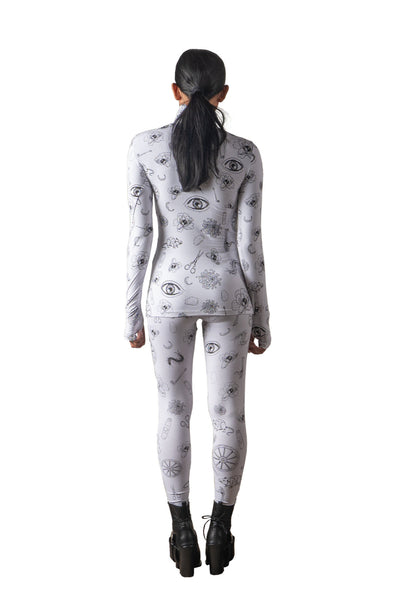 Shop Emerging Slow Fashion Genderless Avant-garde Designer Mark Baigent Spittelberg Collection White with Black Print Spittelberg Leggings at Erebus