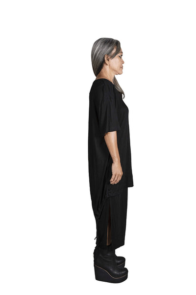 Shop Emerging Slow Fashion Genderless Avant-garde Designer Mark Baigent Rhiannon Collection Black Tusk Shirt at Erebus