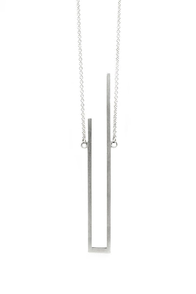 Shop Emerging Structural Jewellery Brand Conservation of Matter Matte Silver U Necklace at Erebus