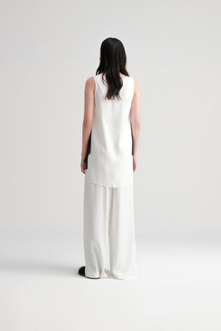 Conscious Womenswear Brand Symetria Ivory Side Slit Undertone Pants at Erebus