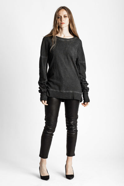 Shop Emerging Conscious Avant-garde Genderless Brand Venia Collection Sulphur Ash Pigment Dyed Javert Sweater at Erebus