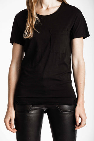 Shop Emerging Conscious Avant-garde Genderless Brand Venia Collection Black Salix V-neck Tee at Erebus
